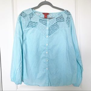 SUNDANCE • 100% Cotton Button Up Blue Blouse Sz XL